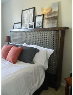Do you have an extra mattress but no spare bedroom.  Consider making a headboard to frame your extra mattress.  Comfortable, functional and looks great.  We made this with some pine boards, screws, stain, electric drill and a hand saw!