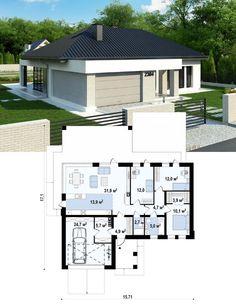 Проект дома Z384 представляет собой компактный одноэтажный коттедж с гаражом для одной машины. Проект Z384 предназначен для людей, ценящих практичность и комфорт. Modern Small House Design, Simple House Design, Contemporary House Plans, Small House Floor Plans, Family House Plans, Dream House Plans, 20x30 House Plans, House Outside Design, Three Bedroom House Plan