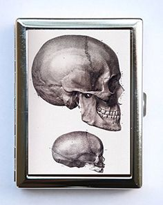 """Anatomy Skull Cigarette Case Wallet Business Card Holder gothic victorian medical. Case hold about 18 to 20 cigarettes. Or you can hold Ids, business cards or other things. The case is metal with two hinged side. This case opens through a side push button. The size of the case is 4 1/4"""" tall by 3 1/4"""" inches wide closed by 1/2"""" deep. Image is protected by clear epoxy."""