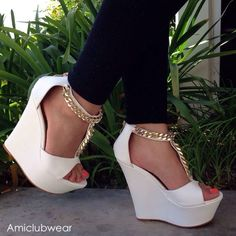I love these white heels wedges.