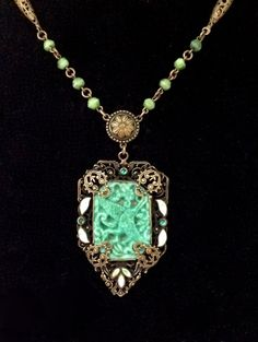 Neiger Czech Necklace Filigree Peking Glass by WhirleyShirley