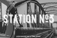 Station No.3 ~~ Station is a bold headline typeface inspired by old Train Station type and graphics. Station No.3 includes a solid drop shadow can be used in a modern and retro way.