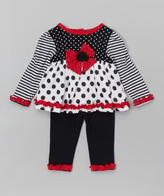 Another great find on #zulily! Black & White Polka Dot Ruffle Tunic & Pants - Infant #zulilyfinds
