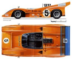 1969 McLaren - Wheelbase track F/R overall length height to roll bar Car christened 'The Batmobile' as a consequence of beautifully integrated rear wing, the high wing of the outlawed along with all high wings by the FIA in all classes. Slot Car Racing, Slot Car Tracks, Drag Racing, Auto Racing, Mclaren Sports Car, Mclaren Cars, Le Mans, Sport Cars, Race Cars