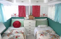 Vintage red and aqua floral caravan