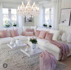70 Super Ideas For Living Room Grey Vintage Shabby Chic Romantic Living Room, Living Room Decor Cozy, Elegant Living Room, Living Room Grey, Home Living Room, Living Room Designs, Cozy Living, Pink Living Rooms, Blush Pink Living Room