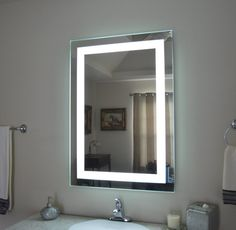 Bathroom Mirrors With Lights Built In innoci-usa electric led mirror with four lighted sides, steel back