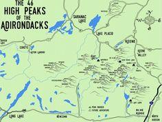 The 46 High Peaks of the Adirondacks - Aspiring Adirondack 46er Hiking Log Poster - Adirondack Apparel