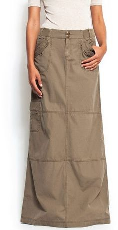 Cargo Maxi Skirt | Mango A-line Shape Cargo-style Maxi Skirt in Khaki (35) - Lyst....I would so wear this
