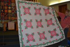 """Ohio Rose,  Bonnie Cundiff Olson: """"My grandmother in KY made this Ohio Rose quilt c.1939-40 for my mother who married in 1940."""