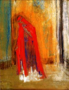 Woman in Red by @redonart #symbolism
