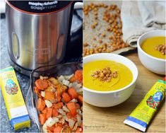 Soup maker recipe: Roasted carrots, sweet potato & harissa with roasted chickpeas Soup Recipes, Dog Food Recipes, Cooking Recipes, Healthy Recipes, Potato Vegetable, Veggie Soup, Vegetable Stock, Crunchy Chickpeas
