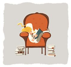 Reading in a comfy chair I Love Books, Good Books, Books To Read, My Books, Best Quotes From Books, Book Quotes, Illustrations, Illustration Art, Reading Art