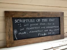 Scripture Chalkboard: Either make your own frame or find a frame to repurpose. Use chalkboard paint for base, stencil with acrylic, and write verse with chalk. (possibly tiffany blue chalkpaint) Chalkboard Scripture, Scripture Signs, Scripture Wall Art, Chalkboard Paint, Scripture Quotes, Bible Verses, Strength Scriptures, Healing Scriptures, Scripture Of The Day