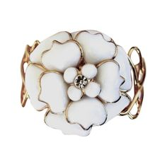 Pate de Verre Collection White Camelia Cuff Bracelet | From a unique collection of vintage cuff bracelets at https://www.1stdibs.com/jewelry/bracelets/cuff-bracelets/