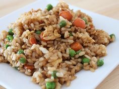 I never could make fried rice, it always turned out sticky and nasty.  Until one night when I couldnt sleep, I turned on the tv and watched this infomercial for cookware and they made fried rice. And what do you know, its a good recipe!  Only thing good that ever came out of a infomercial, lol. Anyway my whole family loves it and have been asked for the recipe many times. If you have leftover chicken, toss it in too.  Ive also added hamburger and other veggies with good results too.