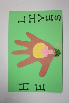 """""""He Lives"""" Easter craft with kids hand"""