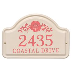 Personalized Arched Ceramic Address Plaque With Sand Dollar - Two Lines. Available now at the best price only at www.everythingnautical.com #Nautical #Home #Decor #Gifts