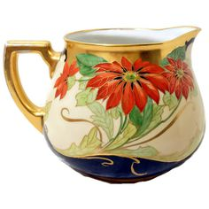 Pickard Style Signed Limoges Poinsettia Pitcher Brauer Studio Gold Filled @LootByLouise Limoges France Poinsettia Flower Porcelain Ceramic Hand Painted China gold red green black Water Cider Pitcher Pickard Brauer GVSTeam afh fwb TeamVintageUSA luv dailyetsysales TenX EPSTeam crazy a4team TeamUNITY feo shp Pin4Etsy 350.00 USD #goriani