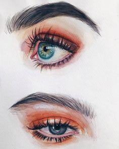 Watercolor Art - Fushion News Watercolor Eyes, Watercolor Portraits, Watercolor Paintings, Pencil Art Drawings, Art Drawings Sketches, Cool Drawings, Eye Drawings, Drawing Eyes, Art Illustrations