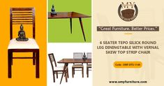 """Great Furniture. Better Prices."" Product Code - OMF-DTS-1149 Product Name: 6 SEATER TEPO SILICK ROUND  LEG DINING TABLE WITH VERNAL  SKEW TOP STRIP CHAIR tepo slick round leg dining table is made by Sheesham wood with the teak finish.  Call Us: +91 9001470833, 7627045945  #furniture #cabinet #diningtable #bed #drawer #bookselves #chairs"