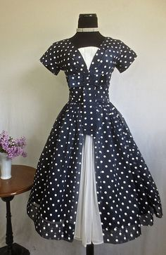 Vintage 1950's Navy Blue & White Polka Dot Prom Dress