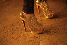 gold sparkly stiletto
