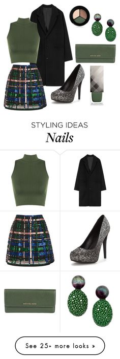 """""""Partying green"""" by elysiquaintrelle on Polyvore featuring Elie Saab, WearAll, Burberry, MICHAEL Michael Kors and Smashbox"""