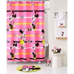 Superieur Disney Minnie Mouse Neon Fabric Shower Curtain
