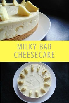 Dreamily sweet and smooth Milky Bar Cheesecake, the ultimate white chocolate dessert! Dreamily sweet and smooth Milky Bar Cheesecake, the ultimate white chocolate dessert! Weight Watcher Desserts, Banoffee Pie, White Chocolate Desserts, Baked White Chocolate Cheesecake, White Chocolate Brownies, Fudgy Brownies, Baking Recipes, Dessert Recipes, Gastronomia