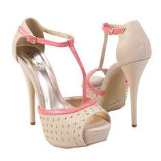 Pink T-Strap Silver Studded Open Toe Platform Ankle Strap High Heel Sandal Pump Shoes, Nude Beige