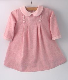 Pale Pink Wool Flannel Dress *** This dress is almost sold out. *** A little pink dress for the winter! The dress is made of light pink wool mix flannel wool / polyester mix), soft and in the least not itchy. It has a marl effect Frock Design, Little Pink Dress, Smocked Baby Dresses, Pink Trousers, Flannel Dress, Pink Outfits, Dresses Dresses, Bride Dresses, Dance Dresses