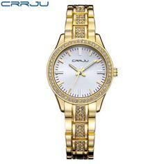 Top Luxury Brand CRRJU Casual Bracelet Gold Watch Women Rhinestone Watches Women Elegant Quartz Wrist Watch Women Relojes Mujer