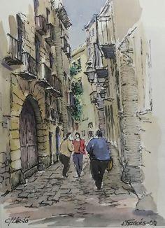 carrer Lledó, Gothic Quarter, Barcelona. Joaquim Francés -ink & watercolor-