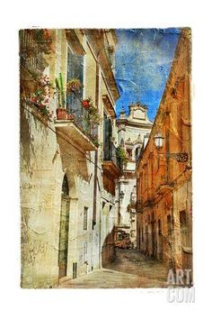 Italian Old Town Streets- Lecce.Picture In Painting Style Art Print by Maugli-l at Art.com