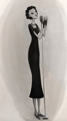 Edith Piaf by Ellie Goldwine #art #illustration