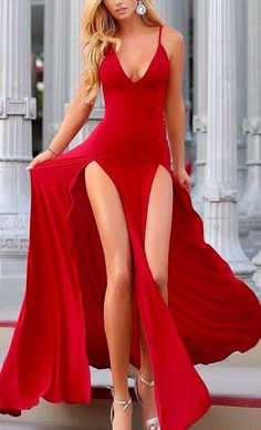 This red double slit dress is so stunning, and her legs are so long omg