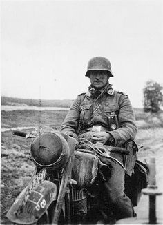 Wehrmacht soldier on a motorcycle - Eastern Front. Unusual as it is a more realistic portrait showing tiredness and maybe battle weariness?