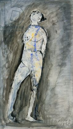 Danzatrice, 1952 (gouache on paper)  Marini, Marino (1901-80)