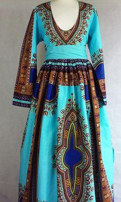 Robe dashiki bleu clair robe maxi Dashiki dashiki wax