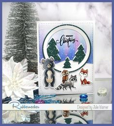 Woodlands Christmas FS713 by justwritedesigns -FS Hostess at Splitcoaststampers Christmas Phrases, Christmas Cards, Copic Sketch Markers, Woodland Christmas, Little Critter, White Paneling, Winter Trees, Paint Pens, Woodland Animals