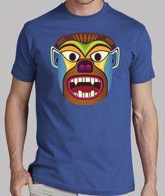 Camiseta hombre de mascara etnica de gorila / hombre lobo inspirado en las mascaras andinas de ecuador