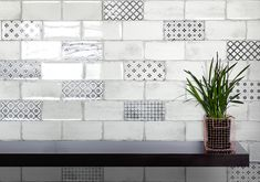 Vita Bianco plain and Decor tiles provide a fresh approach to the vintage look. Available in a variety of colours to order from SimplyTiles. Kitchen Reno, Kitchen Backsplash, Vintage Tile, Metroid, Derby, Tile Floor, Brick, Colours, Crafts
