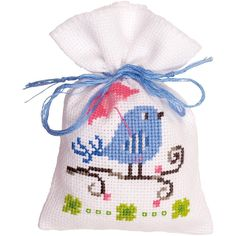 "Blue Bird Bag On Aida Counted Cross Stitch Kit-3.25""X4.75"" 18 Count"