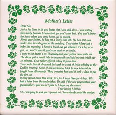"""""""An Irish Mother's Letter to Her Son""""  I remember seeing this in a small shop in Ireland, I love it!"""