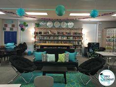 Clean Middle School Classroom Decor Flexible Seating In The High School Classroom Middle School Classroom Decorating Games Teacher Classroom Decorations, Classroom Layout, Classroom Design, Math Classroom, Classroom Themes, Classroom Organization, Classroom Libraries, Classroom Setting, School Themes