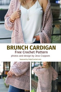 Simple Crochet Hexagon Sweater Free Pattern For Brunch #sweatersforwomen #cardiganpatterns #crochetcardigan #crochetpatterns #freecrochetpatterns #dailycrochet #makeanddocrew