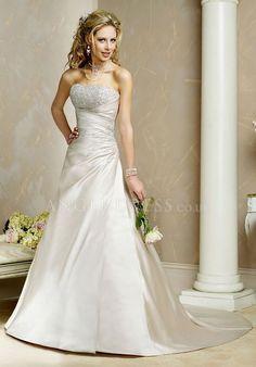 Strapless Satin A line Floor Length Asymmetric Waist Sleeveless Wedding Gown With Beading