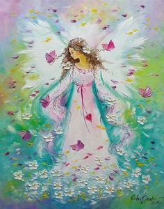 Original Oil Painting Angel Girl Butterflies IMPASTO Europe Artist