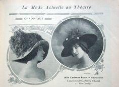 1910 - Miss Lucienne Roger wears Chanel hats in Comoedia Illustré